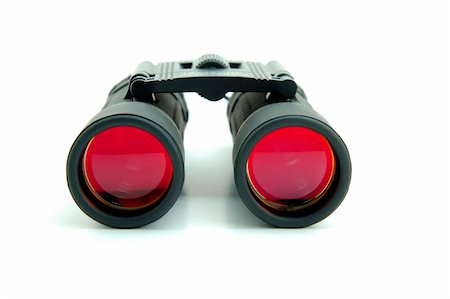 scope - Binoculars with red lenses on white background Stock Photo - Budget Royalty-Free & Subscription, Code: 400-04977603
