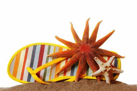 simsearch:400-04638538,k - Shoe and starfish on sand with white background Stock Photo - Budget Royalty-Free & Subscription, Code: 400-04979484