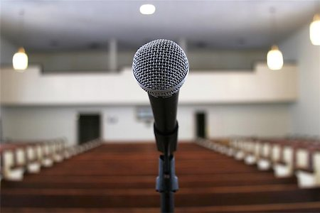 a microphone in an empty church sanctuary Stock Photo - Budget Royalty-Free & Subscription, Code: 400-04972084