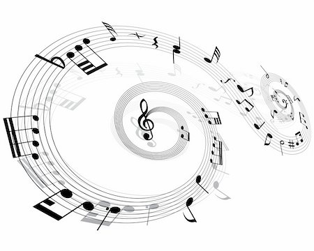 quarter note - Musical notes background with lines. Vector illustration. Stock Photo - Budget Royalty-Free & Subscription, Code: 400-04985753