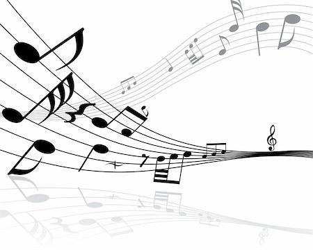 Musical notes background with lines. Vector illustration. Stock Photo - Budget Royalty-Free & Subscription, Code: 400-04987040