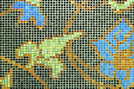 simsearch:400-05245734,k - Mosaic tiles with natural motif ornament decoration Stock Photo - Budget Royalty-Free & Subscription, Code: 400-04987338