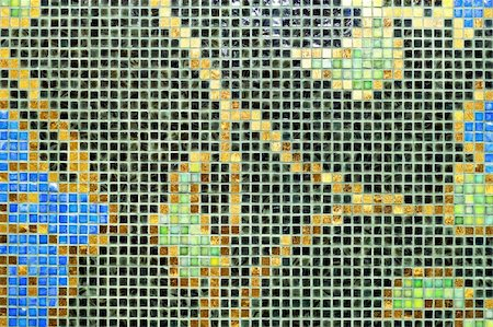 simsearch:400-05245734,k - Mosaic tiles with natural motif ornament decoration Stock Photo - Budget Royalty-Free & Subscription, Code: 400-04987339