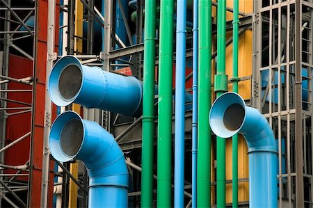 The facade of the Pompidou museum, Paris (France) Stock Photo - Budget Royalty-Free & Subscription, Code: 400-04987737