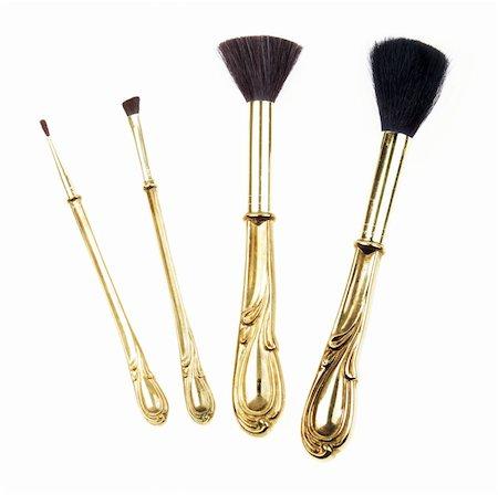 Antique retro makeup brush set isolated on white background Stock Photo - Budget Royalty-Free & Subscription, Code: 400-04988961