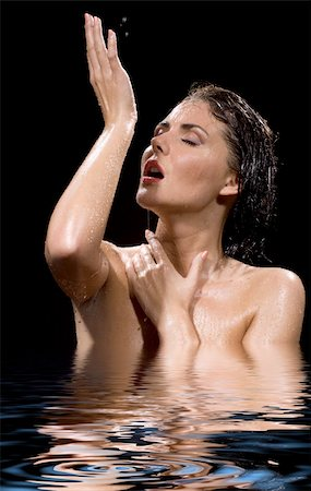 picture of wet brunette girl in water Stock Photo - Budget Royalty-Free & Subscription, Code: 400-04982986
