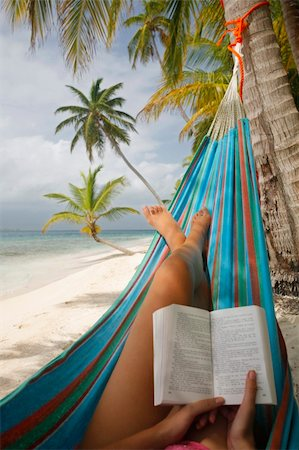 spanishalex (artist) - Woman reading in a hammock on a tropical beach Stock Photo - Budget Royalty-Free & Subscription, Code: 400-04991821