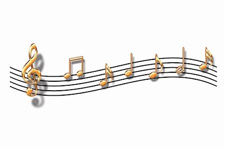 Gold musical notes on a white background Stock Photo - Budget Royalty-Free & Subscription, Code: 400-05005089