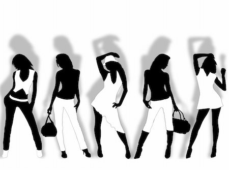 simsearch:400-04096935,k - Collection of different fashion silhouette and different women poses Stock Photo - Budget Royalty-Free & Subscription, Code: 400-05006547