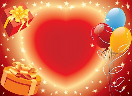 Birthday presents with heart and balloons party decoration Stock Photo - Budget Royalty-Free & Subscription, Code: 400-05006859