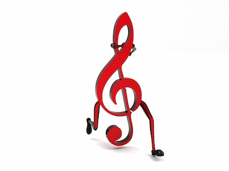 simsearch:400-04676325,k - isolated three dimensional one treble clef Stock Photo - Budget Royalty-Free & Subscription, Code: 400-05007538