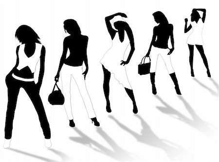 simsearch:400-04096935,k - Collection of different fashion silhouette and different women poses Stock Photo - Budget Royalty-Free & Subscription, Code: 400-05008003