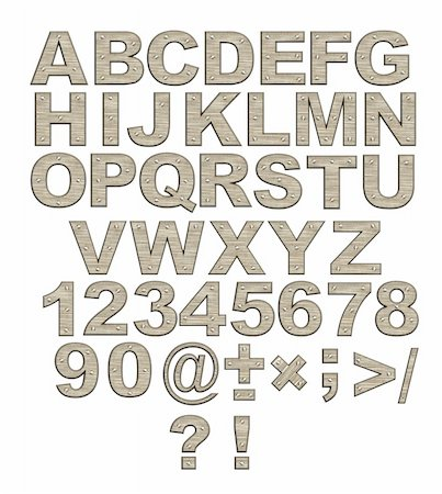 Alphabet - letters from rusty metal with rivets. Objects over white Stock Photo - Budget Royalty-Free & Subscription, Code: 400-05008512