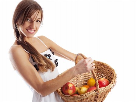 Portrait of a smiling country girl holding basket with  apples Stock Photo - Budget Royalty-Free & Subscription, Code: 400-05009211