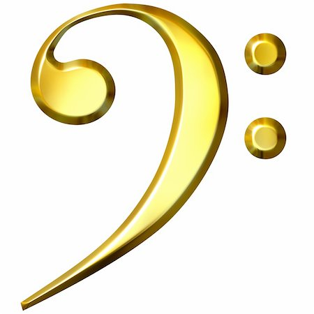3d golden bass clef isolated in white Stock Photo - Budget Royalty-Free & Subscription, Code: 400-05009226