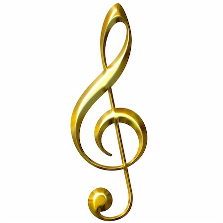 3d golden treble clef isolated in white Stock Photo - Budget Royalty-Free & Subscription, Code: 400-05009233