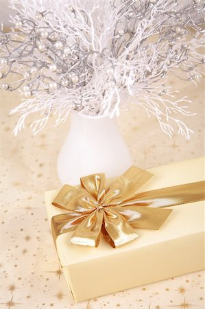 silver box - Christmas present with white branches Stock Photo - Budget Royalty-Free & Subscription, Code: 400-05009958