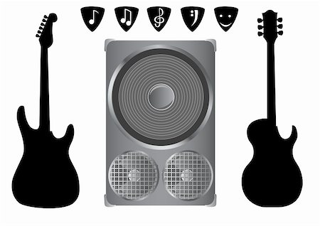 vector drawing sound equipment and electric guitar on a white background Stock Photo - Budget Royalty-Free & Subscription, Code: 400-05002318