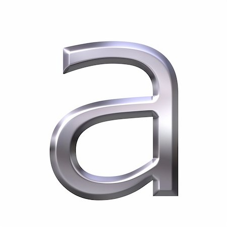 fancy letters - 3d silver letter a isolated in white Stock Photo - Budget Royalty-Free & Subscription, Code: 400-05002334