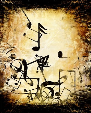 swirling music sheet - Old paper texture with music notes on it Stock Photo - Budget Royalty-Free & Subscription, Code: 400-05002561