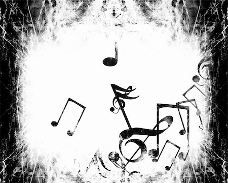 swirling music sheet - grunge black and white background with music notes Stock Photo - Budget Royalty-Free & Subscription, Code: 400-05002570