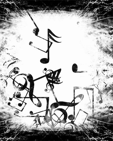 swirling music sheet - grunge black and white background with music notes Stock Photo - Budget Royalty-Free & Subscription, Code: 400-05002571