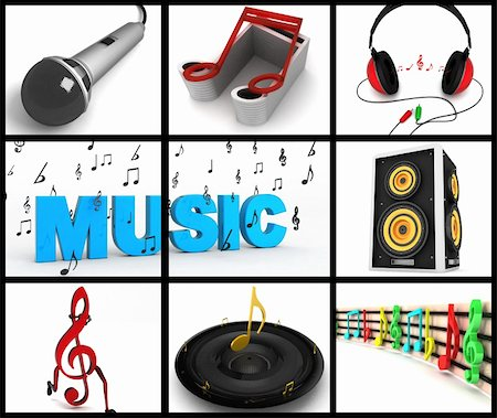 simsearch:400-04676325,k - photomontage of three dimensional musical equipments on square background Stock Photo - Budget Royalty-Free & Subscription, Code: 400-05010059