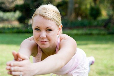 sweaty woman - young blond woman doing fitness exercise Stock Photo - Budget Royalty-Free & Subscription, Code: 400-05010568