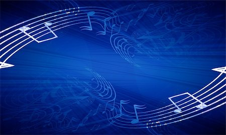 music notes on a dark blue background Stock Photo - Budget Royalty-Free & Subscription, Code: 400-05010670