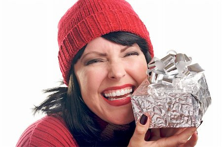 silver box - Attractive Woman Holds Holiday Gift Isolated on a White Background. Stock Photo - Budget Royalty-Free & Subscription, Code: 400-05010874