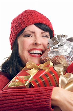 silver box - Attractive Woman Holds Holiday Gifts Isolated on a White Background. Stock Photo - Budget Royalty-Free & Subscription, Code: 400-05010875