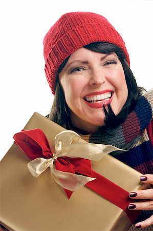 silver box - Attractive Woman Holds Holiday Gift Isolated on a White Background. Stock Photo - Budget Royalty-Free & Subscription, Code: 400-05010873