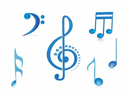 simsearch:400-04676325,k - vector illustration of beautifull shining musical notes isolated on white Stock Photo - Budget Royalty-Free & Subscription, Code: 400-05027561