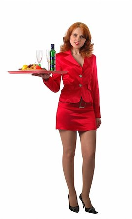 beautiful waitress in red dress, isolated on white Stock Photo - Budget Royalty-Free & Subscription, Code: 400-05035389