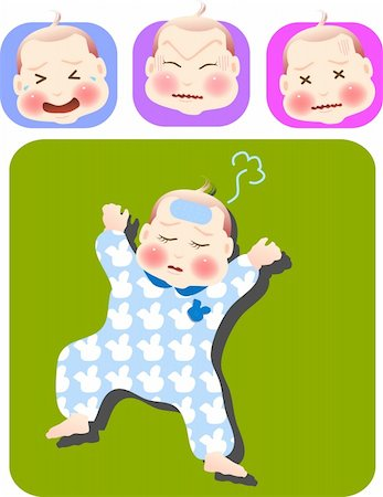 vector illustration for a set of expression of sick baby Stock Photo - Budget Royalty-Free & Subscription, Code: 400-05039813