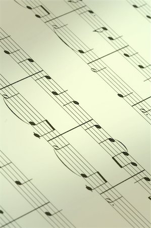 sheet music background - music note background, focus is set in the centre, shallow DOF Stock Photo - Budget Royalty-Free & Subscription, Code: 400-05032498
