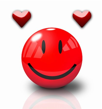 Happy Valentine Smiley on white background Stock Photo - Budget Royalty-Free & Subscription, Code: 400-05033602
