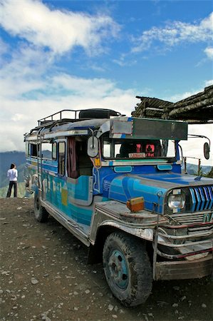 philippine terrace farming - jeepney from banaue to batad parked on high pass northern luzon the philippines Stock Photo - Budget Royalty-Free & Subscription, Code: 400-05044037