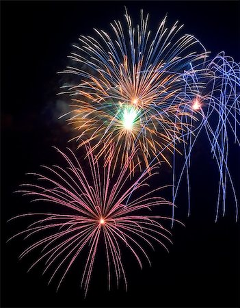 pink and purple fireworks - A great close up of a fireworks finale on the Fourth of July. Stock Photo - Budget Royalty-Free & Subscription, Code: 400-05044948