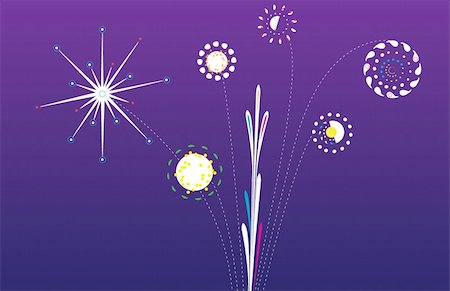 pink and purple fireworks - Nighttime gradient with planetary firework show in purples, yellows, blues, pinks, and greens. Stock Photo - Budget Royalty-Free & Subscription, Code: 400-05045237