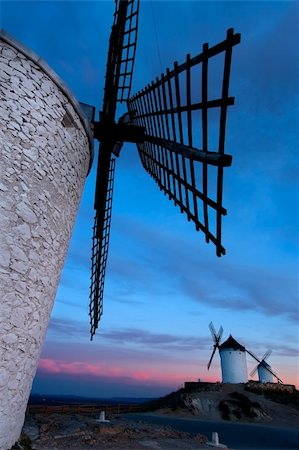 Windmills getting dark in Consuegra city, Toledo (Spain) Stock Photo - Budget Royalty-Free & Subscription, Code: 400-05046205