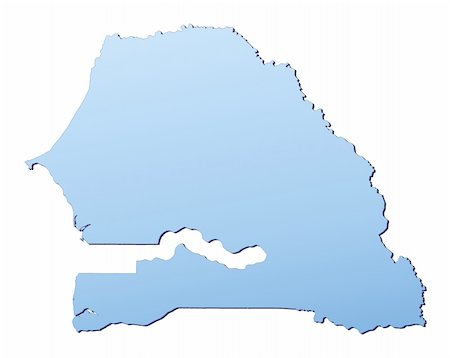 Senegal map filled with light blue gradient. High resolution. Mercator projection. Stock Photo - Budget Royalty-Free & Subscription, Code: 400-05049043