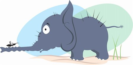 Illustration of an elephant looking to an ant Stock Photo - Budget Royalty-Free & Subscription, Code: 400-05049276