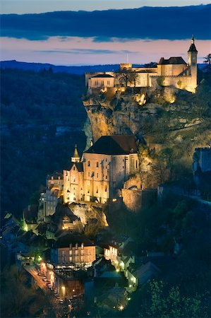 Getting dark in the village of Rocamadour (France) Stock Photo - Budget Royalty-Free & Subscription, Code: 400-05050569