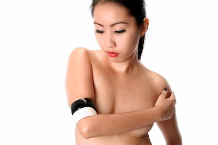 light skinned asian (filipina) model wearing black and white bangles Stock Photo - Budget Royalty-Free & Subscription, Code: 400-05050760