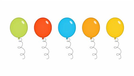 Five shiny party balloons in green, red, blue, orange and yellow. Isolated on white. Stock Photo - Budget Royalty-Free & Subscription, Code: 400-05050897