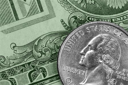 quarter note - Closeup of U.S. money: a quarter and a dollar bill Stock Photo - Budget Royalty-Free & Subscription, Code: 400-05051331