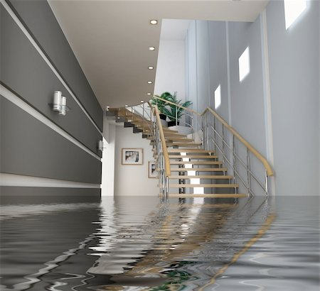 flooded homes - modern interior with stair under the water(3D) Stock Photo - Budget Royalty-Free & Subscription, Code: 400-05065019