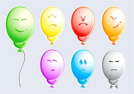 Set of color balloons with typical people emotions Stock Photo - Budget Royalty-Free & Subscription, Code: 400-05075226
