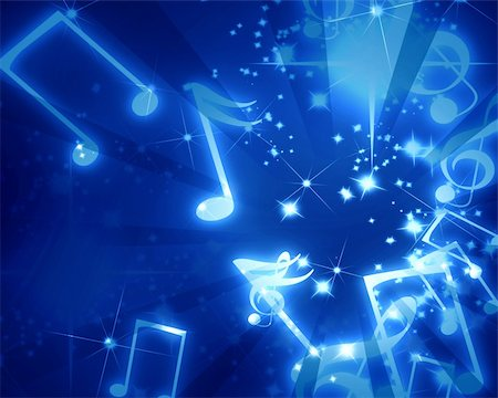 musical notes on a clear blue background Stock Photo - Budget Royalty-Free & Subscription, Code: 400-05075589